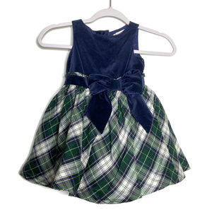 Janie & Jack Silk Plaid Tartan Velvet Dress